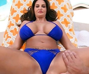 Massive tittied brunette pussy pounded