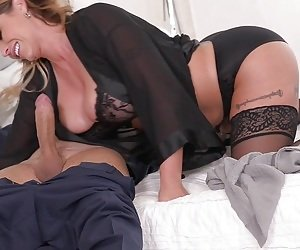 Busty babe Eva Notty rides a dick while her tits bounce up and down