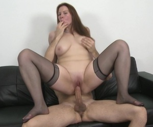 Seductive mature brunette Carol Wings pounded in stockings
